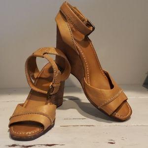 Frye tan soft leather wedge sandal.